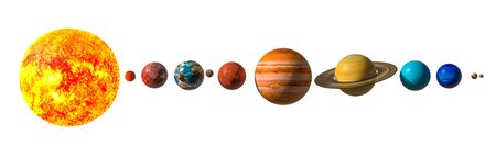Planets of the solar system with Pluto, 3D rendering isolated on white background