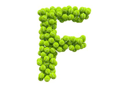 Letter F from tennis balls, 3D rendering isolated on white background
