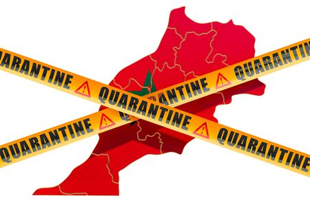 Quarantine in Morocco concept. Moroccan map with caution barrier tapes, 3D rendering isolated on white background