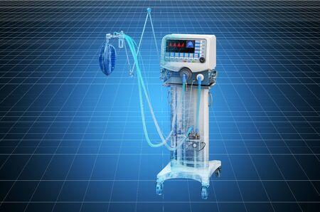 Visualization 3d cad model of medical ventilator ICU. 3D rendering