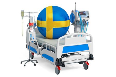 Swedish Healthcare, ICU in Sweden. 3D rendering isolated on white background Stockfoto