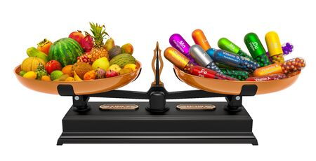 Balance concept, fruits or vitamin supplements. 3D rendering isolated on white background