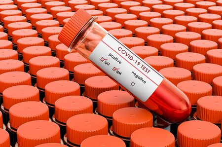 Coronavirus test, COVID-19. Many test tubes and one with positive blood sample for Coronavirus test, 3D rendering