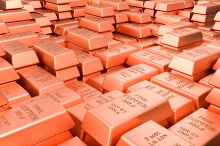 Copper ingots, bars background. 3D rendering