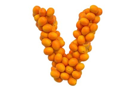 Letter V from oranges, 3D rendering isolated on  white background