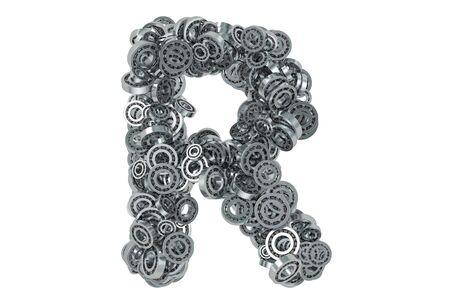 Letter R from steel bearings, 3D rendering isolated on white background Standard-Bild