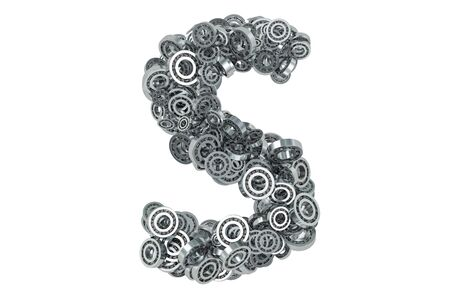 Letter S from steel bearings, 3D rendering isolated on white background