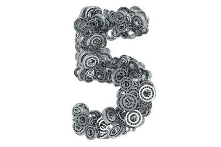 Number 5 from steel bearings, 3D rendering isolated on white background