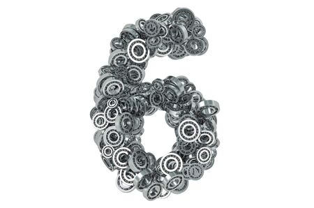 Number 6 from steel bearings, 3D rendering isolated on white background