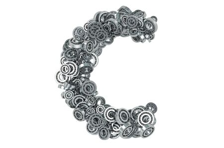 Letter C from steel bearings, 3D rendering