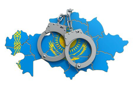 Crime and punishment in Kazakhstan concept, 3D rendering isolated on white background