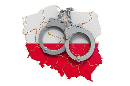 Crime and punishment in Poland concept, 3D rendering isolated on white background