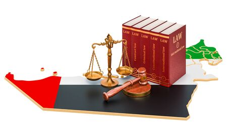 Law and justice in the United Arab Emirates concept, 3D rendering isolated on white background