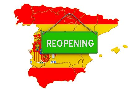 Reopening Spain after quarantine concept, 3D rendering isolated on white background Фото со стока