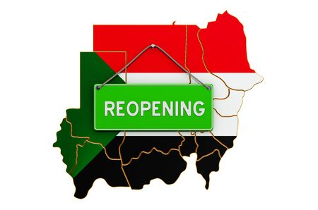 Reopening Sudan after quarantine concept, 3D rendering isolated on white background
