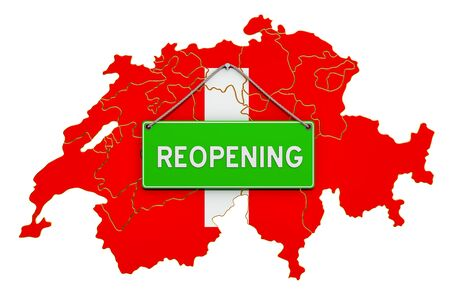Reopening Switzerland after quarantine concept, 3D rendering isolated on white background