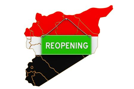 Reopening Syria after quarantine concept, 3D rendering isolated on white background