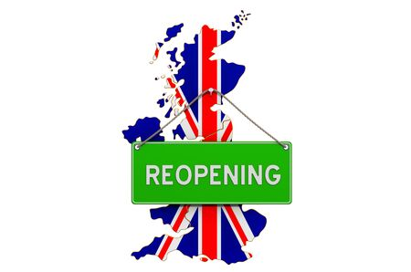 Reopening the United Kingdom after quarantine concept, 3D rendering isolated on white background Фото со стока
