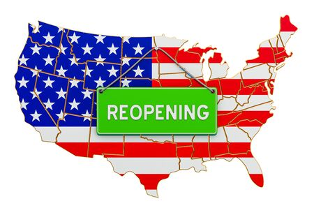 Reopening the United States after quarantine concept, 3D rendering isolated on white background
