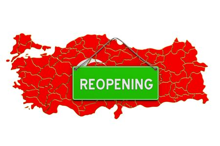 Reopening Turkey after quarantine concept, 3D rendering isolated on white background