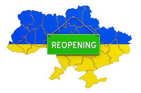 Reopening Ukraine after quarantine concept, 3D rendering isolated on white background Фото со стока