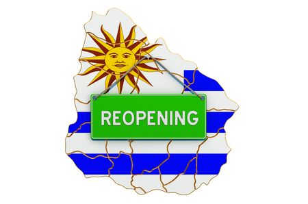 Reopening Uruguay after quarantine concept, 3D rendering isolated on white background