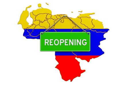 Reopening Venezuela after quarantine concept, 3D rendering isolated on white background Фото со стока