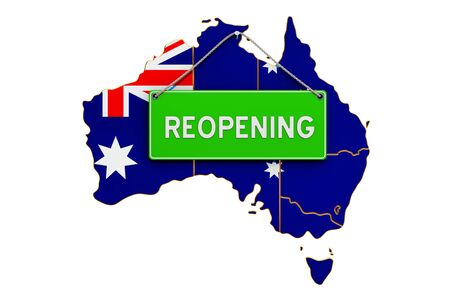 Reopening Australia after quarantine concept, 3D rendering isolated on white background