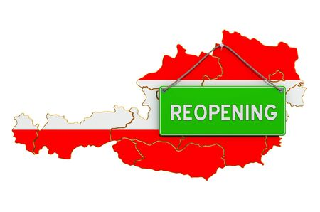 Reopening Austria after quarantine concept, 3D rendering isolated on white background