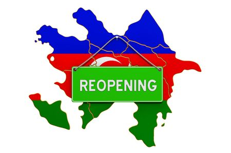 Reopening Azerbaijan after quarantine concept, 3D rendering isolated on white background Фото со стока
