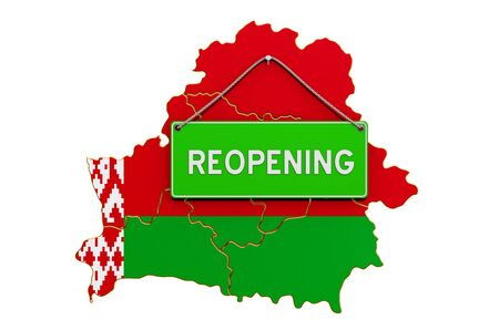 Reopening Belarus after quarantine concept, 3D rendering isolated on white background