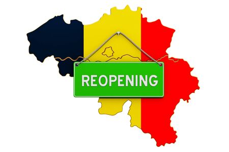 Reopening Belgium after quarantine concept, 3D rendering isolated on white background Фото со стока