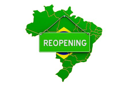 Reopening Brazil after quarantine concept, 3D rendering isolated on white background Фото со стока