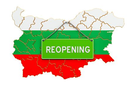 Reopening Bulgaria after quarantine concept, 3D rendering isolated on white background