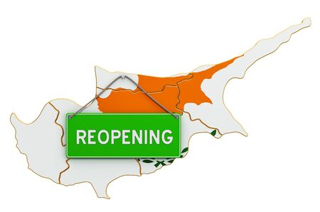 Reopening Cyprus after quarantine concept, 3D rendering isolated on white background