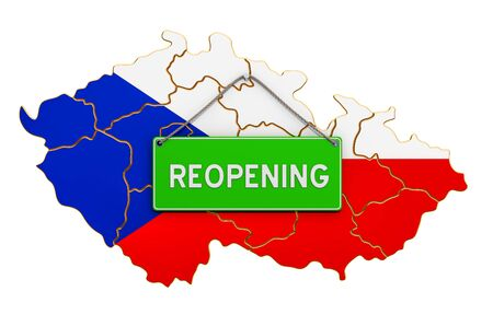 Reopening Czech Republic after quarantine concept, 3D rendering isolated on white background