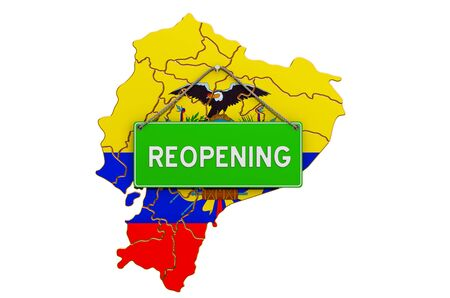 Reopening Ecuador after quarantine concept, 3D rendering isolated on white background