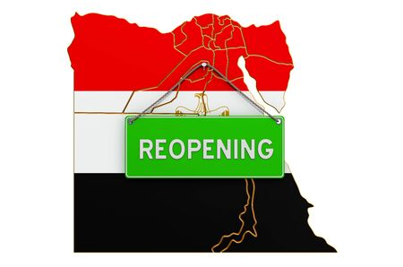 Reopening Egypt after quarantine concept, 3D rendering isolated on white background Фото со стока