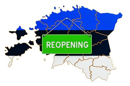 Reopening Estonia after quarantine concept, 3D rendering isolated on white background