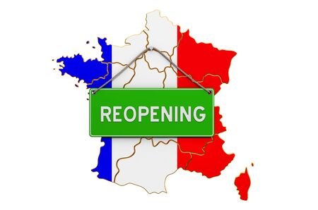 Reopening France after quarantine concept, 3D rendering isolated on white background
