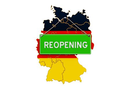 Reopening Germany after quarantine concept, 3D rendering isolated on white background