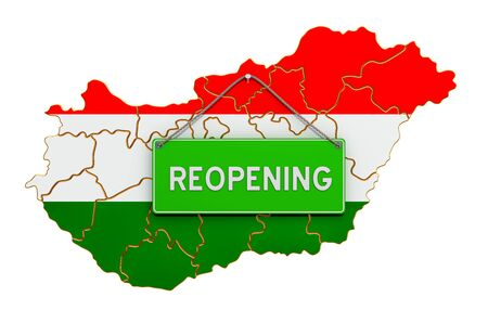 Reopening Hungary after quarantine concept, 3D rendering isolated on white background