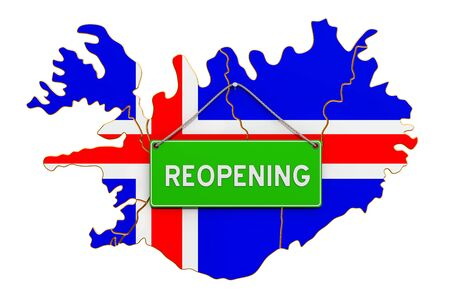 Reopening Iceland after quarantine concept, 3D rendering isolated on white background