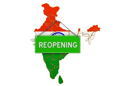 Reopening India after quarantine concept, 3D rendering isolated on white background
