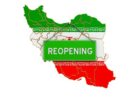 Reopening Iran after quarantine concept, 3D rendering isolated on white background Фото со стока