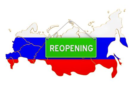 Reopening Russia after quarantine concept, 3D rendering isolated on white background Фото со стока