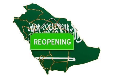 Reopening Saudi Arabia after quarantine concept, 3D rendering isolated on white background Фото со стока