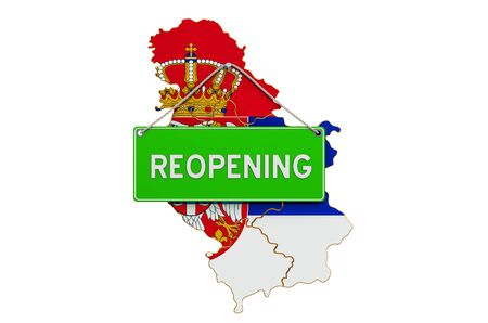Reopening Serbia after quarantine concept, 3D rendering isolated on white background