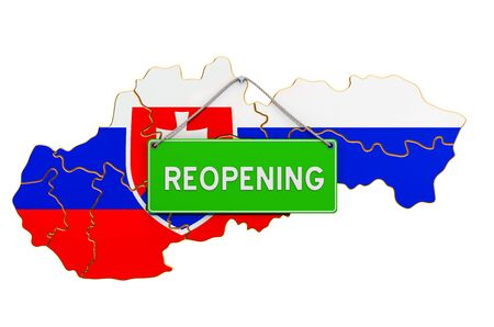 Reopening Slovakia after quarantine concept, 3D rendering isolated on white background