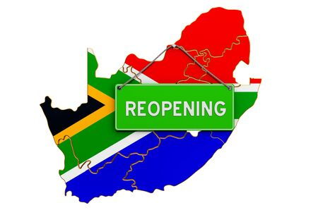 Reopening South Africa after quarantine concept, 3D rendering isolated on white background Фото со стока